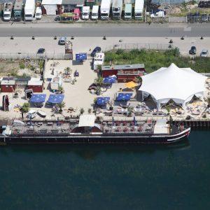 Dortmund, Deutschland, 08.07.2013, Luftbild Binnenhafen Dortmund, Gastronomieschiff Herr Walter. Foto: Michael Printz / PHOTOZEPPELIN.COM